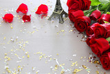 Valentines day romantic background with beautiful bouquet of roses on wooden table.