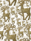 seamless background from gold new year tree deer decorations