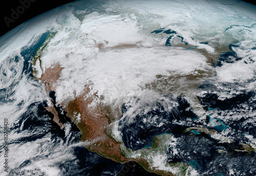 A satellite photo of USA. Elements of this image furnished by NASA