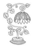 Tiffany style lighting. Hand drawn table lamp. Sketch for anti-stress adult coloring book in zentangle style. Vector illustration for coloring page. - 182705244