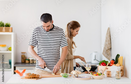 Sticker couple cooking food at home kitchen