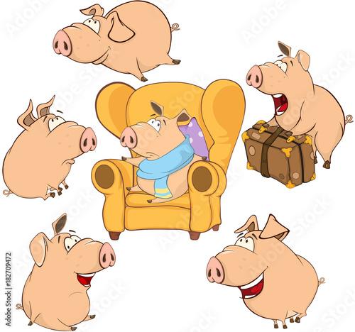 Papiers peints Chambre bébé Set Cartoon Illustration. A Cute Pigs for you Design