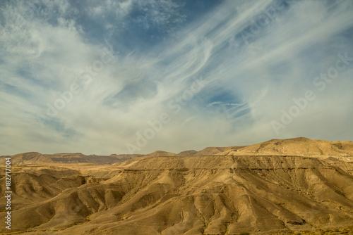 Aluminium Donkergrijs lThe Negev Desert. Landscape of the desert. Journey.