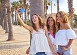 Teen best friends girls group shooting selfie - 182717273