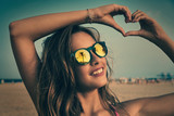 Brunette girl sunglasses with palm tree - 182717493