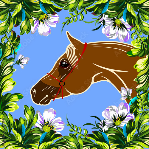 Poster Pony horse in flowers