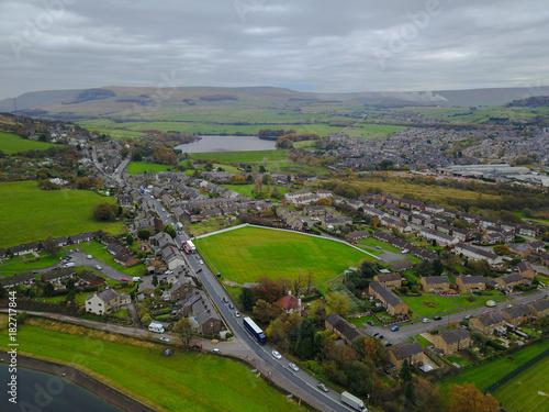 Deurstickers Bleke violet Aerial drone view of trees and reservoir in the peak district