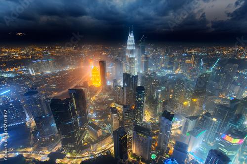 Deurstickers Kuala Lumpur Aerial skyline view to Kuala Lumpur city, Malaysia. Cityscape business skyscrapers night downtown background