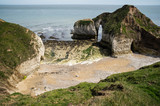 Flamborough, Bridlington, Yorkshire, UK. View of the high chalk cliffs and the North Sea at Flamborough Head. - 182718002