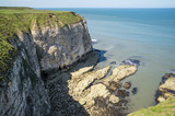 Flamborough, Yorkshire, UK. Chalk sea cliffs to the north of Flamborough Head. - 182718409