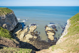 Flamborough, Yorkshire, UK. Chalk sea cliffs to the north of Flamborough Head. - 182718836