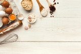 Baking background with eggs and flour on white rustic wood - 182719033