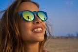 Brunette girl sunglasses with palm tree - 182719282