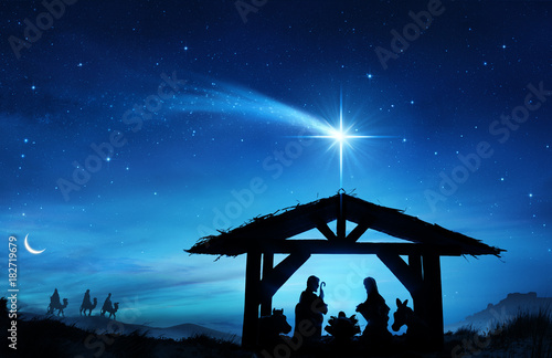 Foto op Aluminium Hoogte schaal Nativity Scene With The Holy Family In Stable