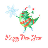 Winter card with a cheerful New Year dinosaur