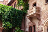 VERONA, ITALY - June 25, 2017:  Romeo and Juliet  Balcony and patio in Verona, Italy. Famous  history Shakespeare house . - 182722650
