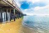 Wooden pier in Santa Barbara shore - 182725808
