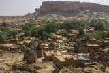 The cliffs above the village of Songo in the Dogon country, Mali - 182726882