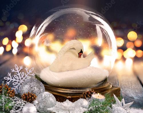 Aluminium Zwaan Christmas Swan Globe