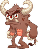 Angry brown cartoon monster. Vector clip art illustration with simple gradients. All in a single layer. - 182727467
