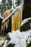 Frozen waterfalls and snow