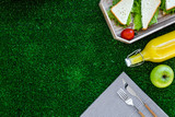 Sandwiches with lettuce for picnic on tablecloth on green grass background top view copyspace