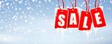 Sale Etiketten vereist mit Eiszapfen und Schneefall Hintergrund - 182730822