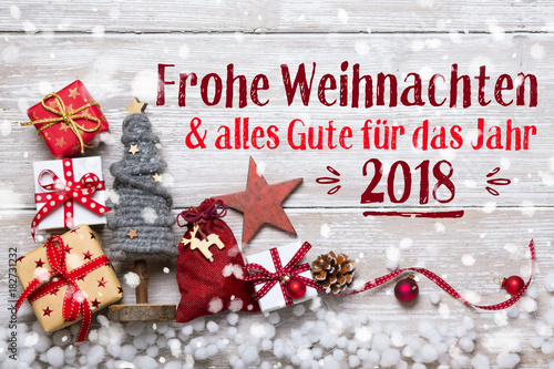 Deurstickers Wanddecoratie met eigen foto Frohe Weihnachten - Grußkarte