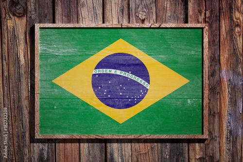 Foto op Canvas Rio de Janeiro Wooden Brazil flag