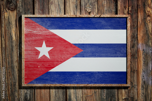 Tuinposter Havana Wooden Cuba flag