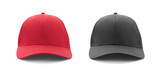 Baseball cap red and black templates, front views isolated on white background - 182732869