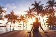 Woman enjoying vacation holidays luxurious beachfront hotel resort swimming pool