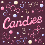 Vector illustration with candies and caption