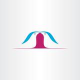 birds kissing vector love icon logo design