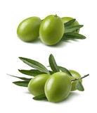 Green olives set isolated on white background