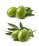 Green olives set isolated on white background - 182737849
