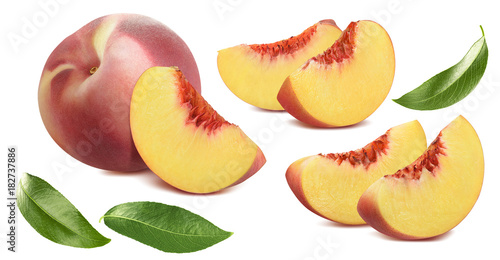 Poster Peach, pieces and leaves set isolated on white background