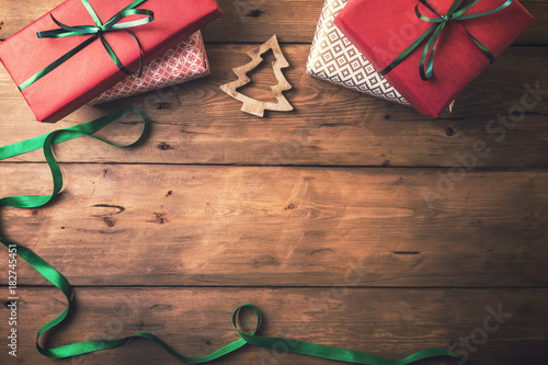 christmas card background. presents and decors with copy space - 182745451