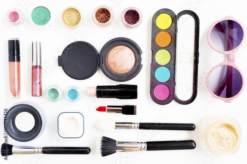 Cosmetics on white background Poster