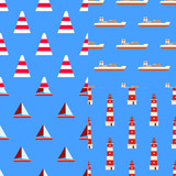 Set of marine nautical seamless patterns Good for textile fabric or paper print. Flat design, vector illustration EPS10