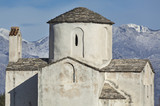 Medieval church of the Holy Cross in Nin with snowy mountain Velebit in background, Croatia - 182752498