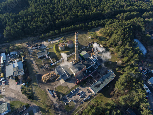 Foto op Canvas Parijs Aerial view over small power plant in Druskininkai industrial part of town, Lithuania.