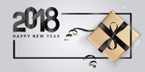 Vector illustration of New Year 2018 greeting card. Design template for greeting card, web banner, flayer brochure, party invitation card. - 182764693