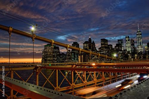 Sunset over a Manhattan. Poster