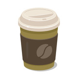 Coffee paper cup with lid and holder. Vector clipart