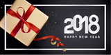 Vector illustration of New Year 2018 greeting card. Design template for greeting card, web banner, flayer brochure, party invitation card. - 182768813