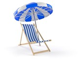 Deck chair with umbrella - 182769076