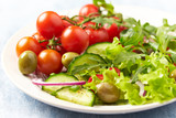 Fresh salad with green olives, cherry tomatoes and arugula - 182770006