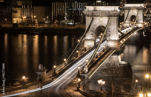 Foto op Canvas Boedapest Chain bridge