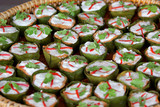 curry streamed seafood in banana leaf cup - 182773020